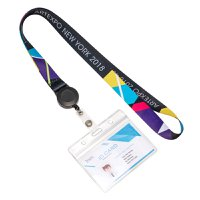 Pre Designed Full Color Lanyards With Horizontal Badge Holder