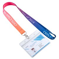 Pre Designed Multi Color Lanyard With Horizontal Badge Holder
