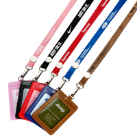 Nylon Lanyards+Metal Lenght Adjuster+Leather Badge Holder