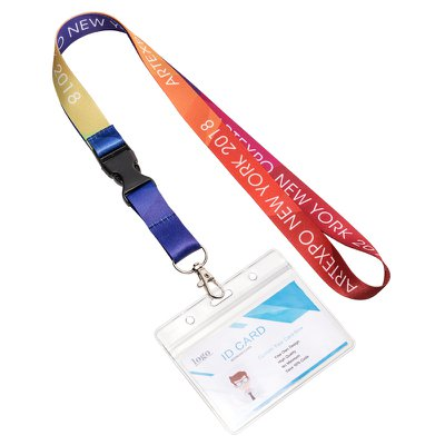 Pre Designed Segmented Lanyard With Plastic Buckle+Horizontal Badge Holders