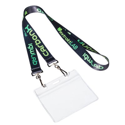 Flat Open Ended Lanyards with Two Swivel Hooks and Name Badge Holder