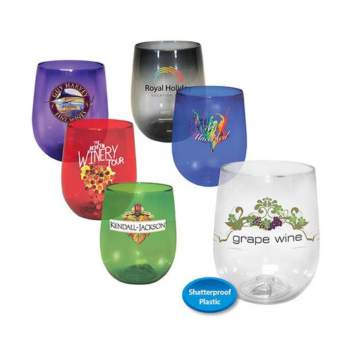 12 oz. Plastic Stemless Wine Glass Full Color