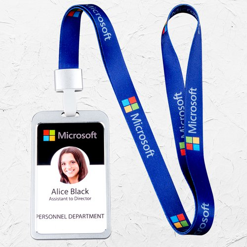 Microsoft Logo Lanyard Reel Badge Holder by Microsoft NEW Black